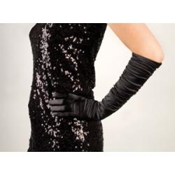 gants longs satin noir