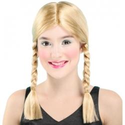Perruque deux tresses blondes