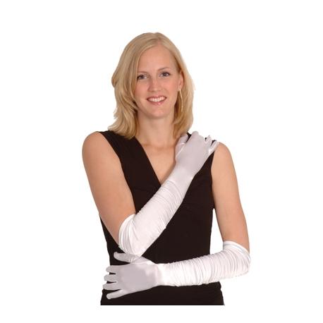 longs gants satin blanc