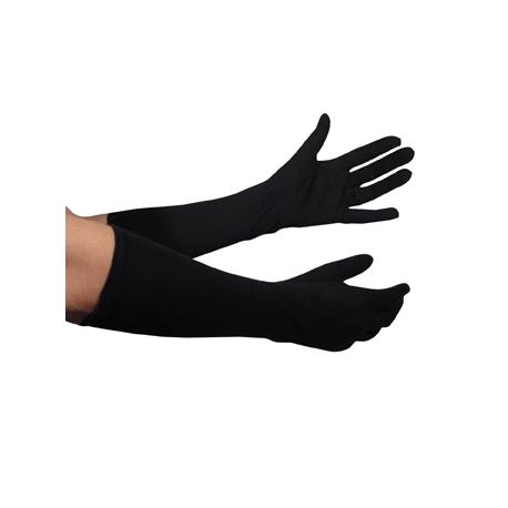 Longs gants noir tissu