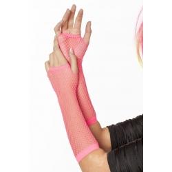 Gants mitaines résilles rose