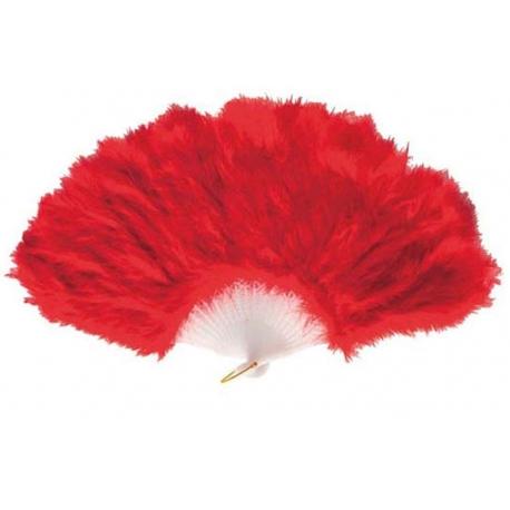 Eventail en plumes rouges