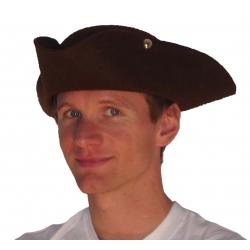 Chapeau tricorne luxe brun