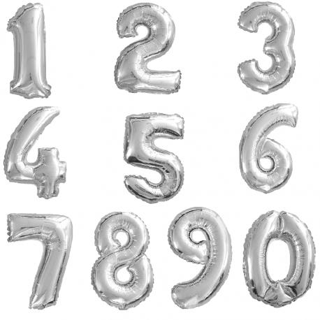 Ballon en aluminium chiffre 1 - Argent - 100cm