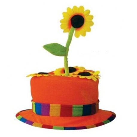 Chapeau clown fleur orange