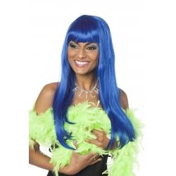 Perruque franche mi longue bleu