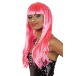 Perruque franche mi longue rose neon