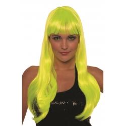 Perruque franche mi longue jaune néon