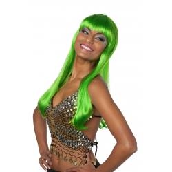 Perruque franche mi longue vert neon