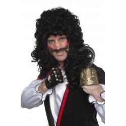 Perruque mousquetaire pirate noir