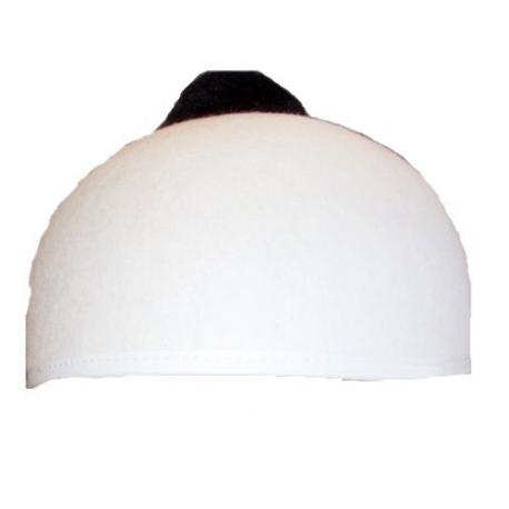 Calot blanc pompon noir