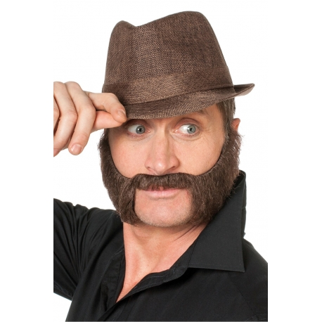 Barbe et moustache gangster brune