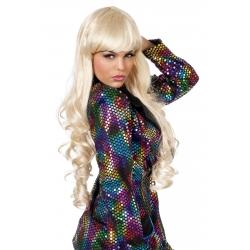 Perruque extra longue avec franche blonde