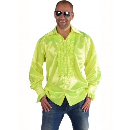 Chemise disco jaune fluo