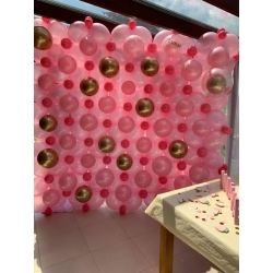 Mur de ballons rose et or