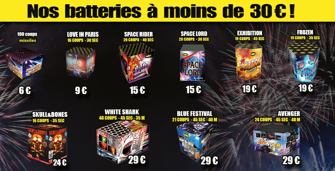 Artifices batteries à moins de 30 euros