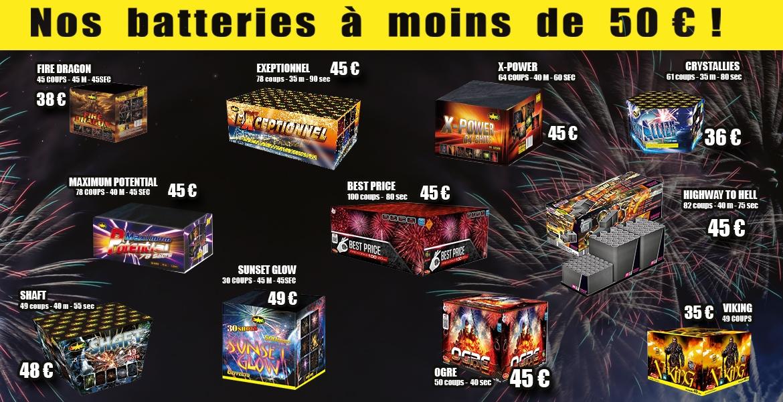 découvrez nos batteries feux d'artifice à moins de 50 euros