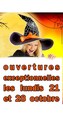 ouvertures  exceptionnelles les lundis 21 et 28 octobre